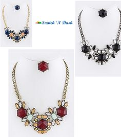 Snatch 'N Dash - Queen Bee Crystal Leaf Necklace - 5 Color Choices - Ends 11/17/2013