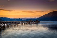 Peer Sunset - Salmon Arm, BC, Canada; by Brian Joch, 500px Beautiful Places, Beautiful Pictures, Western Canada, Landscape Pictures, Lake Life, Banff, British Columbia, Salmon, The Neighbourhood