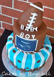Football Baby Shower Cake...these are totally our wedding colors and the bottom tier looks like a tier from our cake too haha, awesome! I'd take off the sugar ultrasound transfer though too and decorate the 2nd tier also.