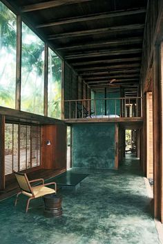 holiday house tropical forest windows and green floors and walls with wood