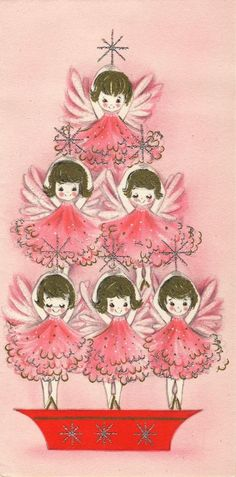 Old Christmas Post Cards —  Ballet Angels  (494x1000)
