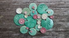 Lily pad coaster with flower ceramic green by damsontreepottery
