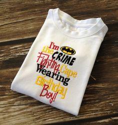 Super Hero Birthday Shirt  Batman Boys Birthday by TutuKute2