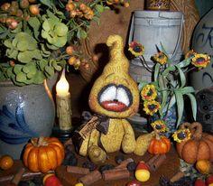 "Primitive Halloween Spook Ghost 6"" Goth Fall Doll Vtg Patti's Ratties Bear OOAK"