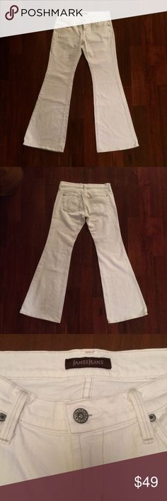 """James Jeans White Flare Pants James Jeans """"Play Girl"""" style flare jeans in Neo White. Slim leg with flare opening.  Inseam: 32.5"""" Waist: 34.5"""" Leg opening at hem: 23"""" Front Rise: 8"""" Hind Rise: 13"""" James Jeans Jeans Flare & Wide Leg"""