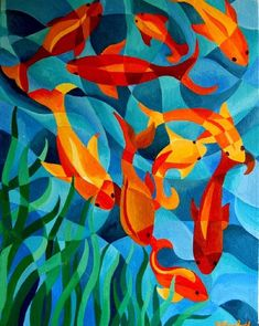 Fractured paintings - WetCanvas - wavy lines that fracture are consistent with others - creates unity Principe of Art: Unity Principles Of Art, School Art Projects, 2d Art, Fish Art, Fish Fish, Elements Of Art, Art Club, Art Plastique, Elementary Art