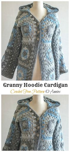 Discover thousands of images about Crochet Granny Hoodie Free Patterns - Crochet Granny Square Jacket Coat Free Patterns Black Crochet Dress, Crochet Coat, Crochet Cardigan Pattern, Granny Square Crochet Pattern, Crochet Jacket, Crochet Granny, Crochet Clothes, Crochet Sweaters, Crochet Patterns