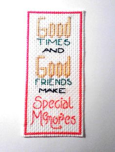 Cross Stitch Finished Bookmark Good Friends by DMStitches on Etsy, $2.99