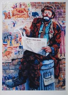 Electronics, Cars, Fashion, Collectibles, Coupons and Emmett Kelly, Send In The Clowns, Clown Makeup, Wall Street, Sad, Times, Happy, Painting, Watercolor Painting