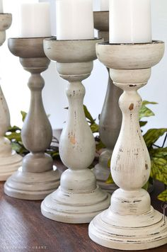 Thrift Store to Farmhouse Home Decor: DIY Upcycled Candle Sticks - The Cottage Market