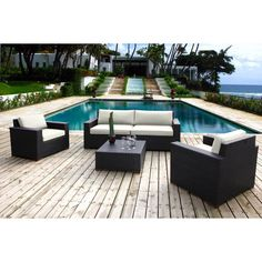 Outdoor Bellini Home and Gardens Primland Wicker 5 Piece Patio Deep Seating Sofa Conversation Set - W771053B