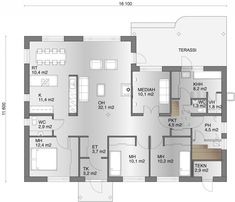 Vaihtoehto 1 My Dream Home, Future House, House Plans, Sweet Home, Floor Plans, Flooring, How To Plan, Architecture, Building