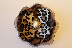 Cheetah Animal Print Hand Cut Satin and Organza Flower Hair Clip