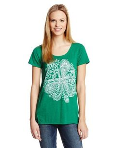 Lucky Brand Women's Paisley Clover Tee, Verdant Green, X-Large (700691801305) Front graphic Crew neck