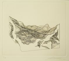 trigedakru:Anthony Roberto, Contour/LandscapeCopperplate Engraving printed on 300 gs/m Hanemhule warm white paper; 7½ × 9 in