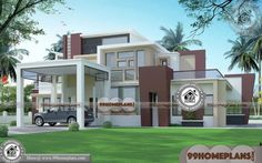 Indian Home Design Ideas & 2 Floor Contemporary Home Designs Indian House Exterior Design, Modern Exterior House Designs, Indian Home Design, Latest House Designs, Cool House Designs, 2 Storey House Design, House Front Design, Small House Design, Home Design Images