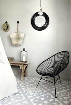 Source: My Scandinavian Home Perfect combination - the Acapulco Chair and patterned mosaic tiles. Ann Sacks do an amazing range of mosaics as do Made a Mano. Decor, House Design, Interior Design, House Interior, Home Deco, Scandinavian Home, Interior Inspiration, Interior, My Scandinavian Home