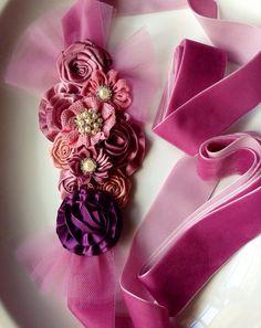 Pregnancy sash , Maternaty sash on a velvet ribbon  on Etsy, $32.99