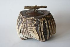 Patricia Shone, lidded box, wood fired ceramic with driftwood, 2013