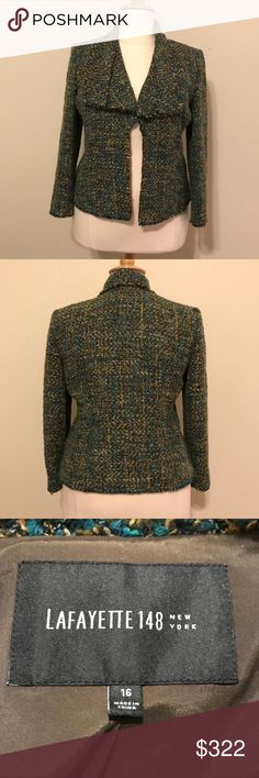 "EUC Lafayette 148 New York tweed Blazer Sz 16 This blazer is in excellent condition. Fabric is a multi-fabric blend. It's a beautiful, soft tweed fabric with shades of teal, blue and green with silver and orange accents. I️t has a float neckline with 4 hooks & eyes to close it off. The edges have a frayed detail as well. Measurements are bust 44"", waist 40"", bottom hem 45"", sleeve 23.5"", bicep 14"" and total length 24.5"". Lafayette 148 New York Jackets & Coats Blazers"
