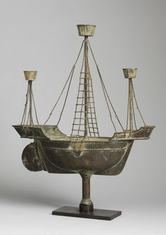 Rare Full Bodied Twin Masted Ship Weathervane With Bird's Nests and Unusual Wire Rigging Details  Solid Sheet Copper, Copper Wire and Metal, With Weathered Patina and Natural Verdigris, English, c.1850.