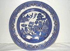 """Churchill Blue Willow Dinner Plate 10 3/4"""" Made in Staffordshire England"""