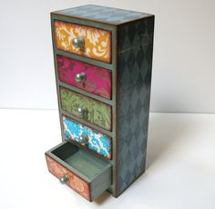 Harlequin And Damask Five Drawer Jewelry Box by MyButterflySister