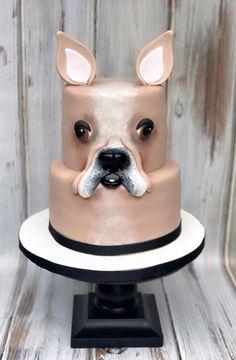 French Bulldog by Karens Kakes 1st Bday Cake, Birthday Cake For Cat, Beautiful Cakes, Amazing Cakes, Puppy Dog Cakes, Bulldog Cake, Cake Structure, Gravity Defying Cake, Cakes Today