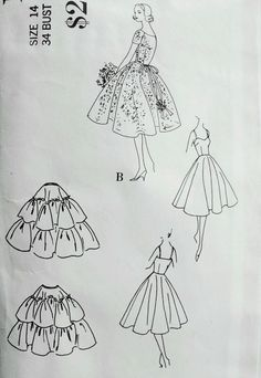 Late 1950s DREAMY BRIDES or BRIDESMAIDS DRESS, SLIP and PETTICOAT PATTERN BEAUTIFUL ROMANTIC FULL SKIRT ROWS of LACE VOGUE COUTURIER DESIGN 117 Bust 34