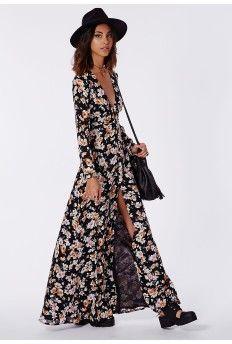 Effie Button Down Maxi Dress Floral