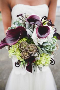 Purple Calla lily bouquet with scabiosa pods and fiddlehead fern Lily Bouquet Wedding, Wedding Flower Guide, Wedding Flowers, Wedding Ideas, Bridal Bouquets, Wedding Details, Wedding Photos, Wedding Inspiration, Whimsical Wedding