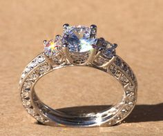 If a guy gives me this he doesn't even need to ask Diamond Engagement Ring - VINTAGE style - 1.85 carat Round - 14K white gold - Luxury- Brides- Engagement -bp006. $5,500.00, via Etsy.