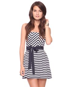 FOREVER 21: Seashore Stripes Dress - Show off your figure in this ponte knit dress featuring a sweetheart neckline and pleats. Grosgrain ribbon belt included. Padded bustline. Exposed zipper in back. Medium weight. Partially lined.