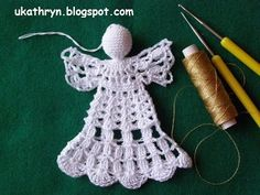 U Kathryn : Szydełkowy anioł (wzór)/Crochet angel pattern Crochet Angel Pattern, Crochet Angels, Christmas Crochet Patterns, Xmas Crafts, Quilling, Mittens, Snowflakes, Knit Crochet, Crochet Earrings