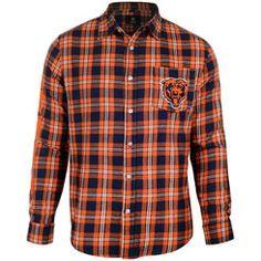 Men's Chicago Bears Klew Navy/Orange Wordmark Flannel Button-Up Long Sleeve Shirt