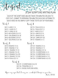 31 day scripture writing plan - Google Search