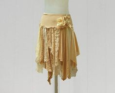 Tattered Lace Fairy Woodland Skirt Funky Hippie Style by persnickedee #upcycled #ecofriendly