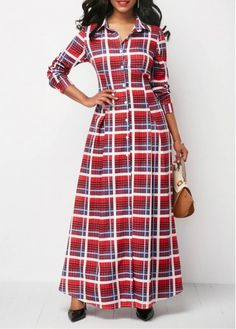 Plaid Print Button Up Long Sleeve Maxi Dress on sale only US$33.60 now, buy cheap Plaid Print Button Up Long Sleeve Maxi Dress at Rosewe.com