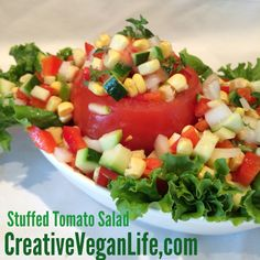 Raw Stuffed Tomato Salad - corn, zucchini, red bell pepper, sweet ...