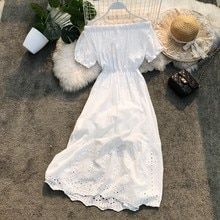 2019 new fashion women's dresses Summer seaside vacation beach skirt bohemian skirt slash neck openwork dress female Cute Floral Dresses, Sexy Dresses, Casual Dresses, Casual Outfits, Fashion Dresses, Cute Fall Outfits, Pretty Outfits, Hijab Fashionista, One Piece Outfit
