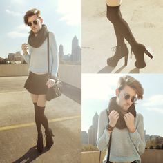H&M Black Socks, Booties, Forever 21 Scarf, H&M Pale Blue Sweater, Sammy Day Skirt, Leather Purse
