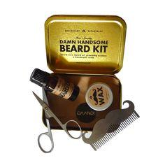 Offrez ce coffret-cadeau d'entretien de la barbe pour hipster : huile à barbe, cire naturelle, peigne en forme de moustache et mini-ciseaux. Livraison express