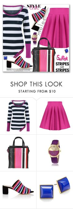 """""""Pattern Challenge: Stripes on Stripes (Edgy)"""" by jecakns ❤ liked on Polyvore featuring Balenciaga, Loeffler Randall, Trina Turk, Whiteley, stripesonstripes and PatternChallenge"""