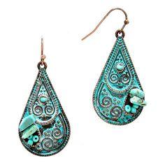 Turquoise Bead Patina Verdigris Filigree Earrings