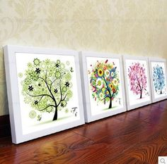 Needlework DIY Cross stitch,Sets For Embroidery kits,The four seasons trees pattern Count Cross-Stitch decorative painting