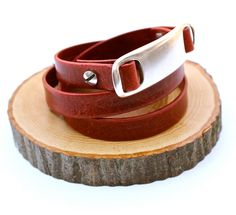 Rustic Red Italian Leather Triple Wrap Bracelet ID by amyfine,