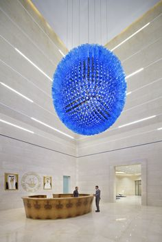 The Beauty of Glass Central Bank, Light Installation, Entrance Hall, Hand Blown Glass, Lanterns, Glass Art, Chandelier, Ceiling Lights, Contemporary