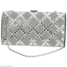 Silver Crystal Sparkly Evening Clutch  Bag by Faye London  perfect for weddings and summer balls Proms .