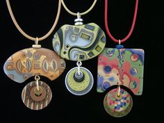 Julie Picarello's polymer clay pendants