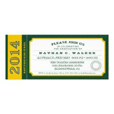 Green and Gold Ticket Graduation Party Invitation